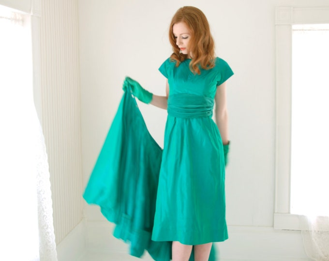 Vintage 1950s convertible dress, cyan green formal prom pin-up shift fit flare, S