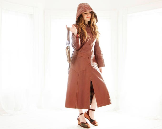 Vintage long leather jacket, brown hooded trench coat, removable hood, red plaid lining, boho retro XS