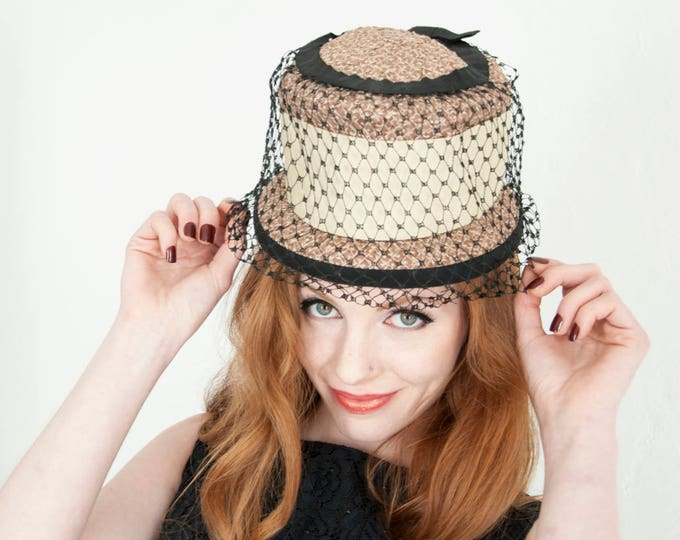 Vintage champagne hat, black netting 1950s tall formal mid-century, beige
