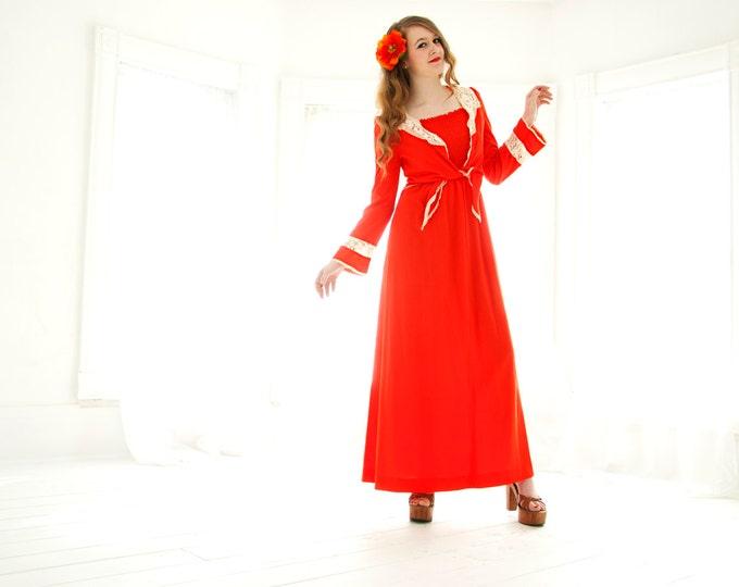 Vintage red bell-sleeve maxi dress set, bolero crop top, orange white lace boho XS S