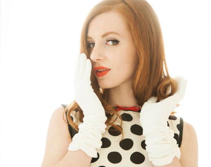 Vintage long white gloves, 1950s formal dress, M L, ruching