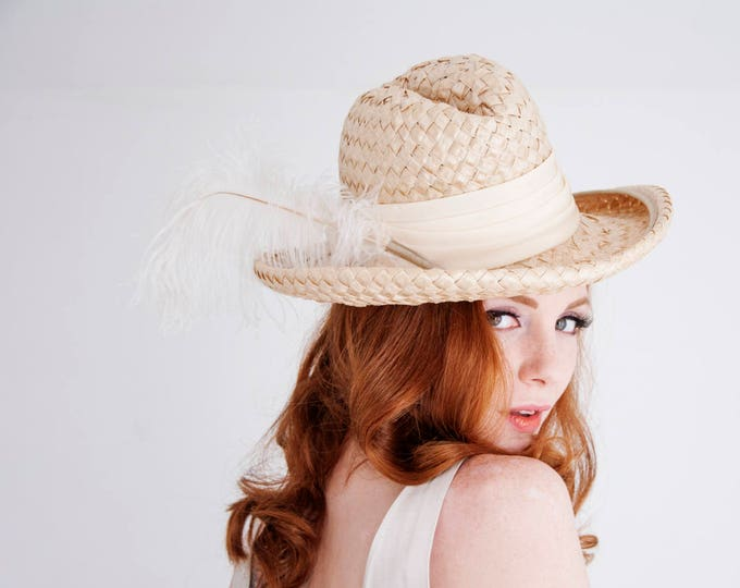 Vintage ivory fedora hat, white cream feather woven sunhat, summer pin-up wedding bridal, 1960s