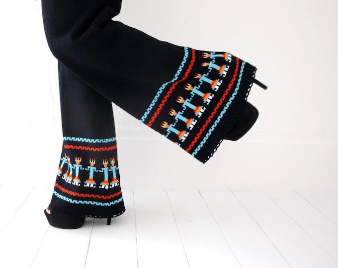 Vintage black knit pantsuit set, bellbottoms pants tribal, turquoise red, L XL, Goldwaters