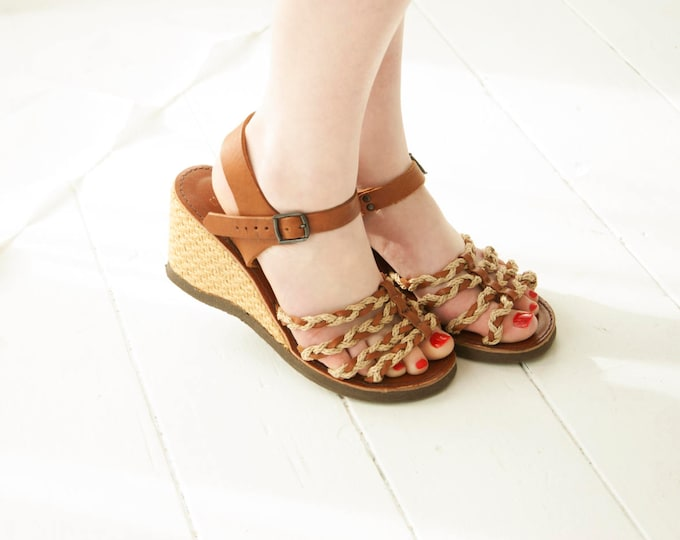 Vintage wedge sandals, brown boho leather espadrilles shoes, braided jute retro 1970s, Italy, 8.5 9