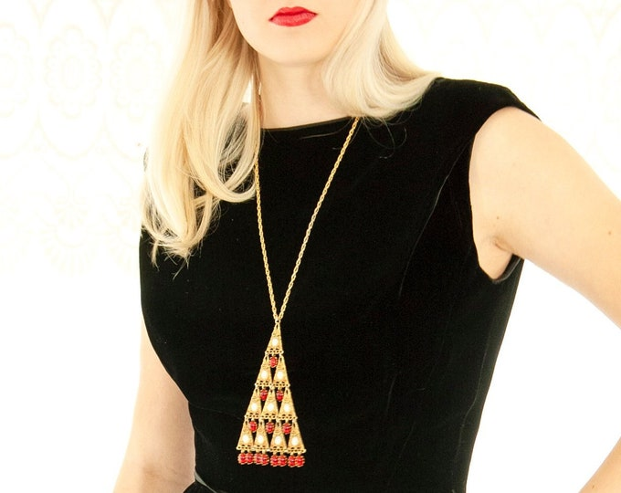 Vintage long Christmas tree necklace, gold chain red glass triangle dangle statement beaded, 1970s Victorian retro formal filigree