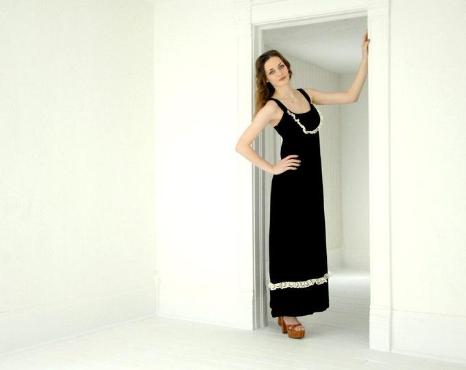Vintage black velvet maxi dress, sleeveless boho formal sundress, white lace pinafore A-line 1970s S