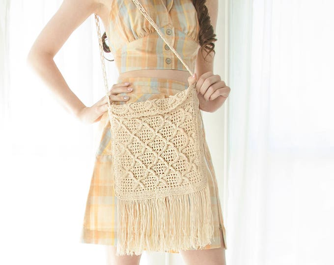 Vintage white crochet purse, fringe shoulder crossbody bag, 1960s 1970s boho, Greece