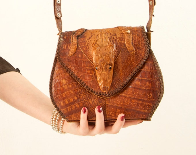 Vintage 1940s alligator purse, brown genuine leather baby crocodile handbag, full body hide head taxidermy