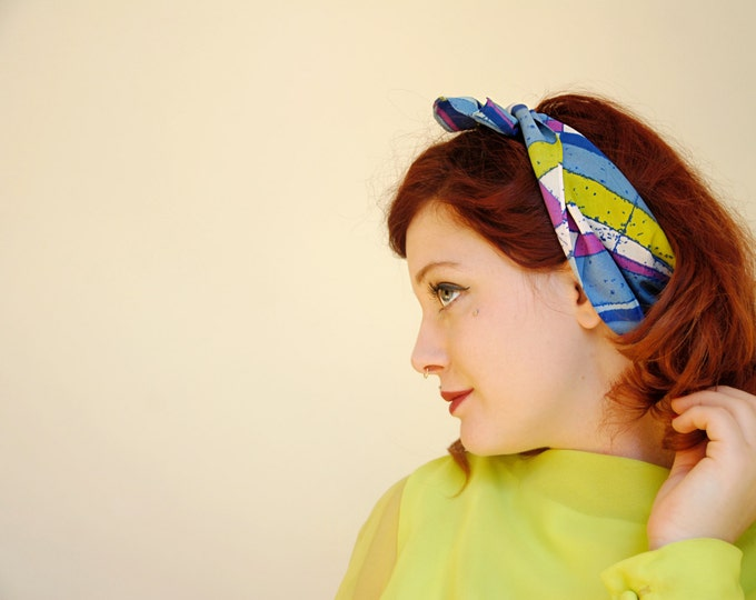 Vintage abstract head scarf, green blue purple, 1960s 1970s SALE