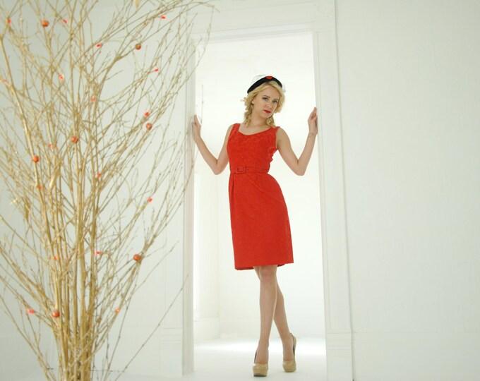 Vintage red 1950s dress set, brocade sleeveless wiggle dress, bolero jacket collar formal prom, XS S
