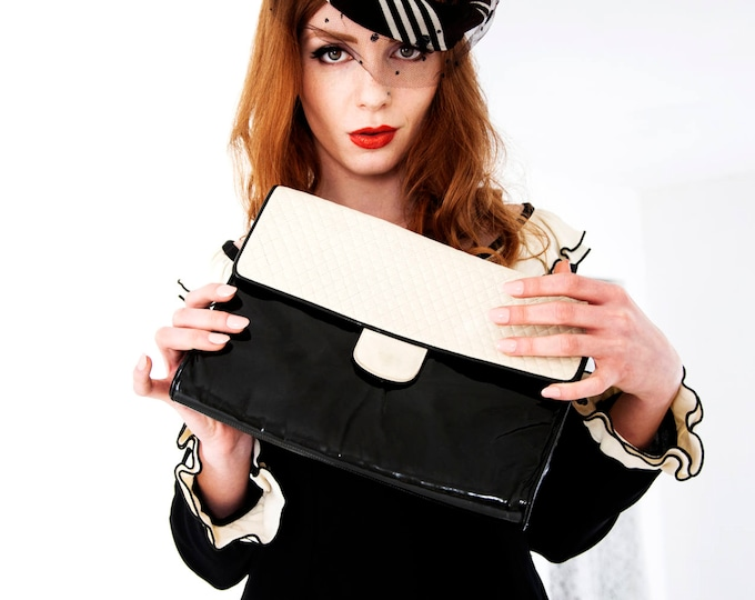 Vintage black white large clutch purse, 1970s, patent leather quilted ivory formal