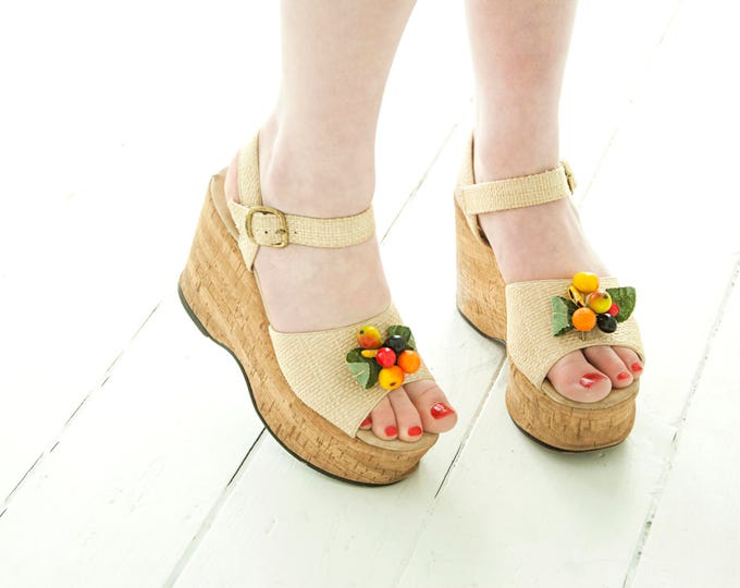 Vintage platform sandals, tropical fruit, cork canvas boho summer shoes, 1970s 6, Gallenkamp box SALE
