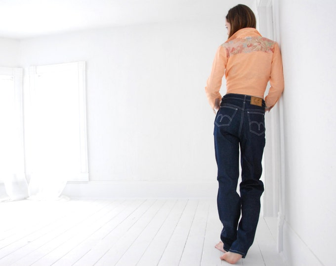 Vintage high-waist jeans, blue denim pants S M 31 long, Rough Rider 1970s