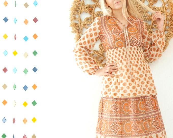 Vintage orange paisley dress, long sleeve sheer summer maxi boho peasant tiered cotton, white brown, smocking waist, S 1960s 1970s