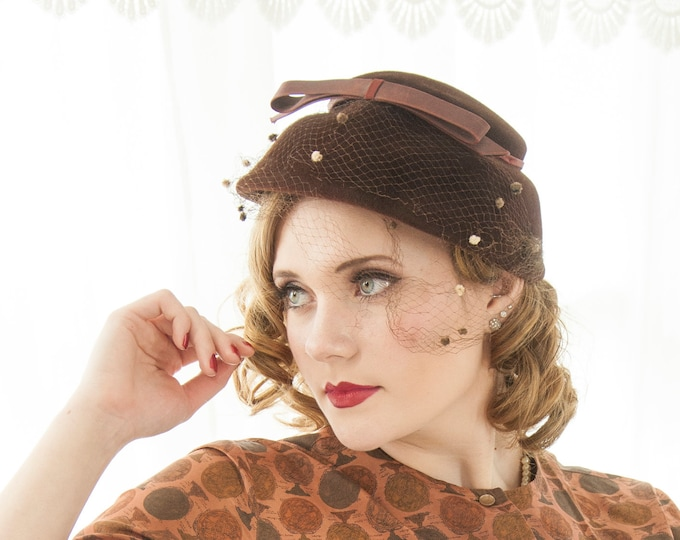 Vintage 1950s brown bucket hat, dark wool satin bow netting veil, formal pin-up basket