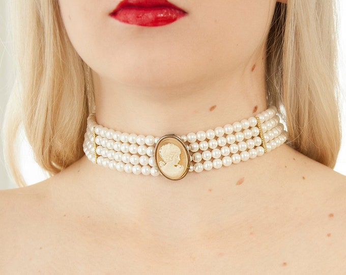 Vintage white cameo choker, beaded triple strand Victorian princess necklace beads, 1970s wedding bridal steampunk