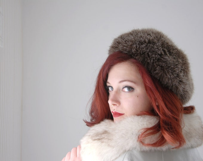 Vintage brown faux fur hat, 1960s winter tam beret SALE