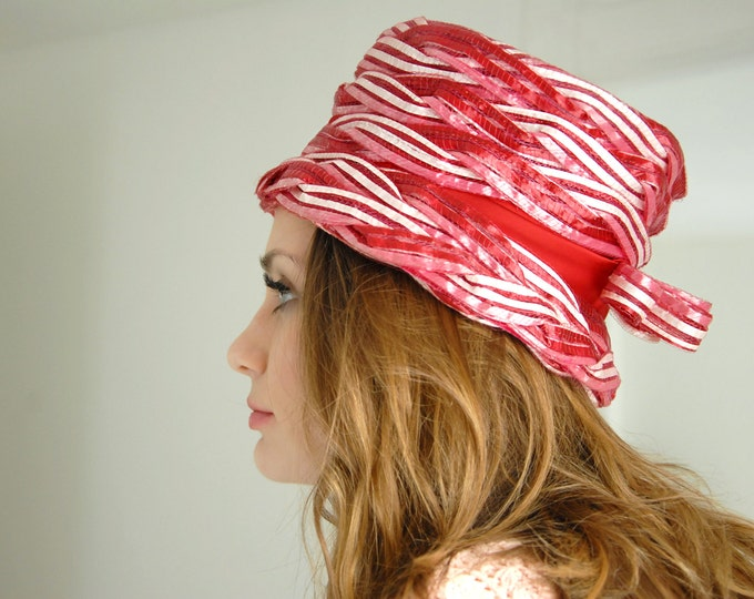 Vintage pink striped hat, 1950s formal, pin-up mid-century 1960s mod stripes tall woven