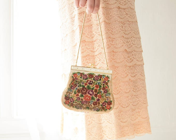 Vintage floral needlepoint purse, tapestry purple pink green, small wristlet clutch formal evening 1950s 1960s