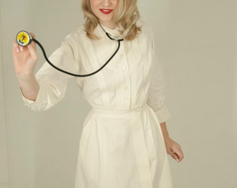 3794bd54a8a RESERVED Vintage 1950s nurse dress, white pressed cotton medical uniform  outfit costume, pockets A-line midi, Peter-Pan collar XS