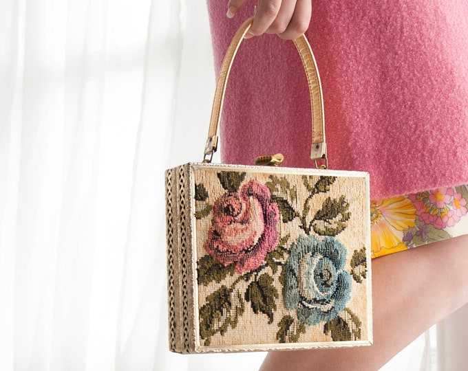 Vintage floral box purse, 1950s needlepoint tapestry blue pink rose, gold lame metal filigree box handbag