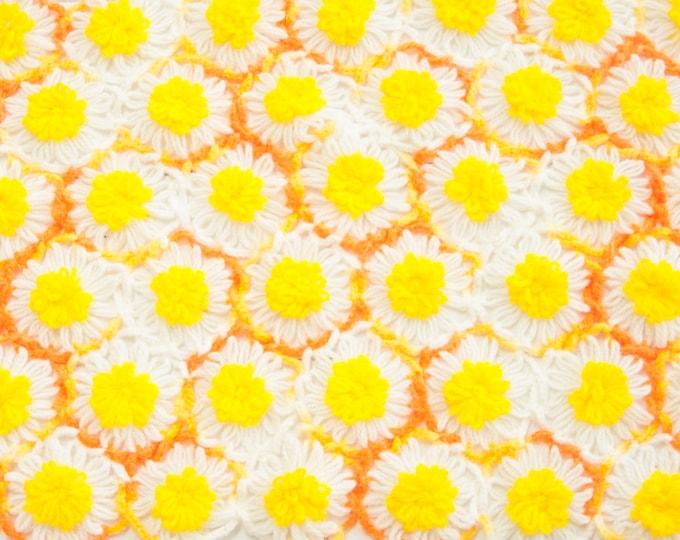 Vintage yellow floral doily, white orange rectangular patchwork flowers retro colorful crochet 1970s home decor