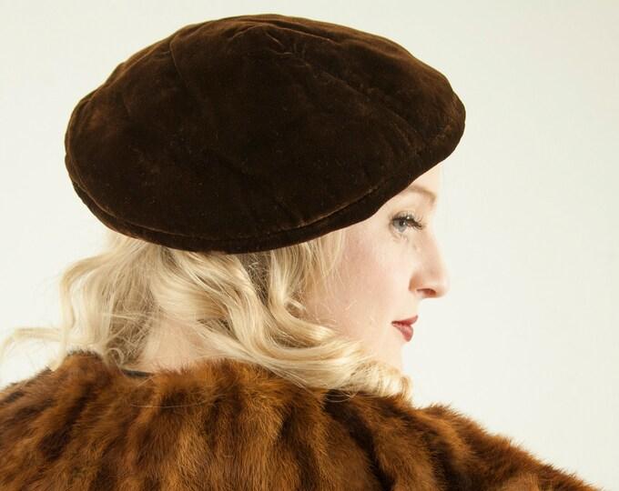 Vintage 1930s brown velvet beret hat, dark formal 1920s antique