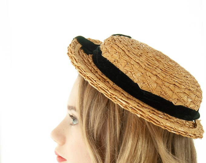 Antique straw hat, woven brim, black velvet ribbon, summer chin strap, vintage 1800s Victorian 1900s Edwardian