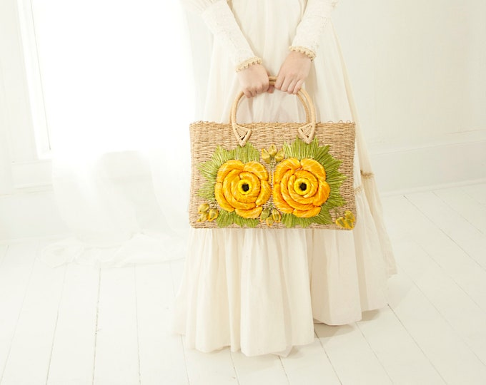 Vintage orange floral basket purse, large flowers market beach bag handbag, natural tan yellow woven straw boho retro 1970s, owl eyes