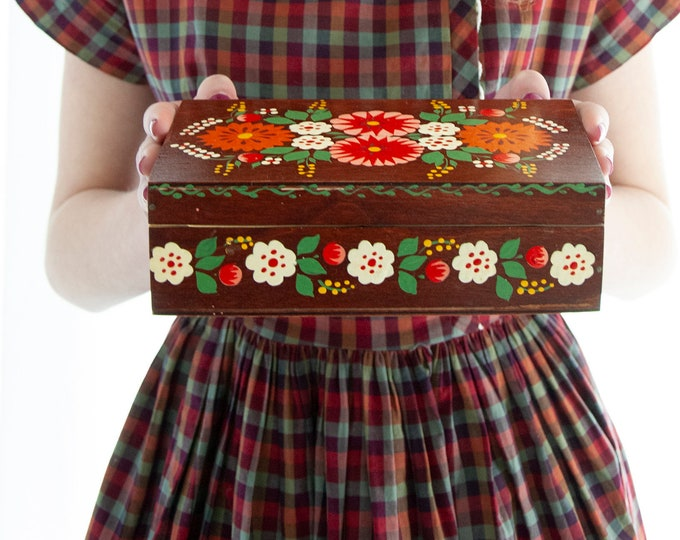 Vintage floral wooden jewelry box, Soviet Union Russian USSR red orange hand-painted flowers, brown wood storage container, 1960s
