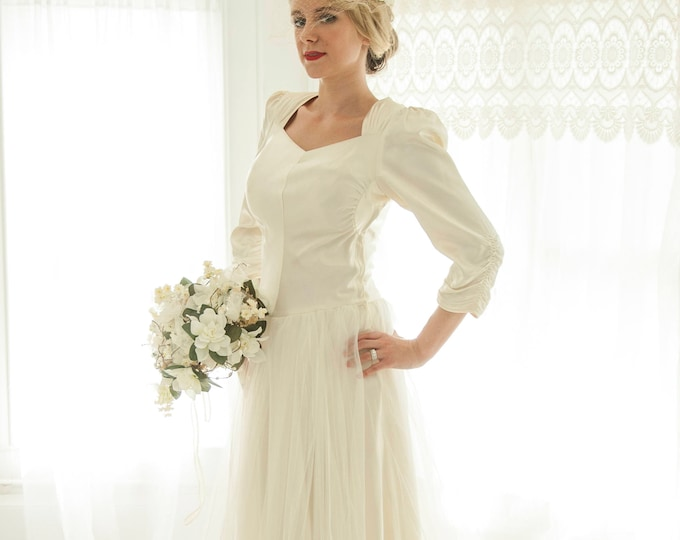 Vintage 1940s satin wedding dress, ivory tulle long sleeve sweetheart ruching puffed sleeve Victorian gown, XS S