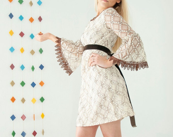 Vintage lace bell sleeve mini dress, sheer ivory white lace boho wedding, brown empire waist, S 1960s