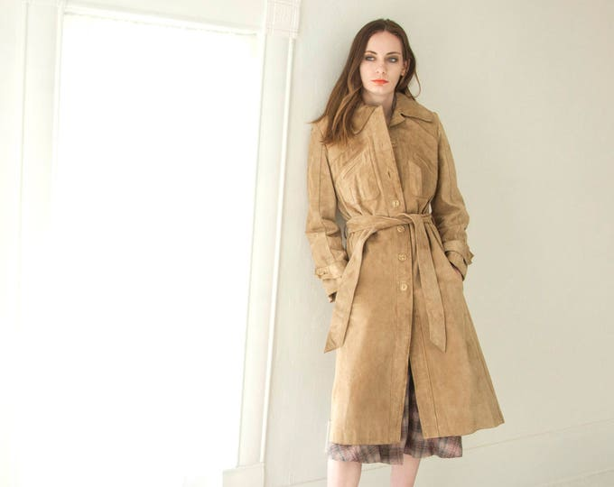 Vintage long suede jacket, tan leather trench coat, brown boho retro chevron patchwork 1970s S