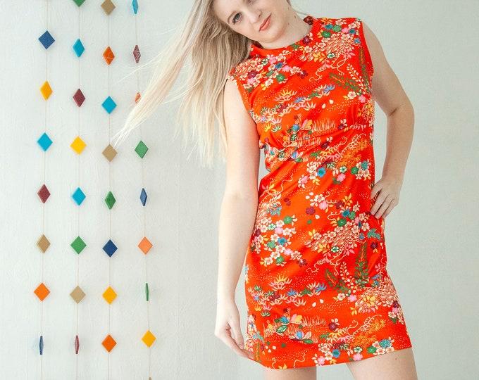 Vintage orange floral mini dress, sleeveless tropical Asian Japanese print colorful rainbow summer stretch shift, designer Magnin S M 1970s