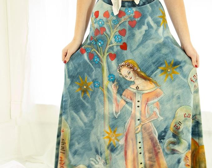 Vintage hand-painted skirt, Renaissance woman painting, lion rabbit beaded blue denim A-line maxi cotton jean high-waist 1970s boho retro XS