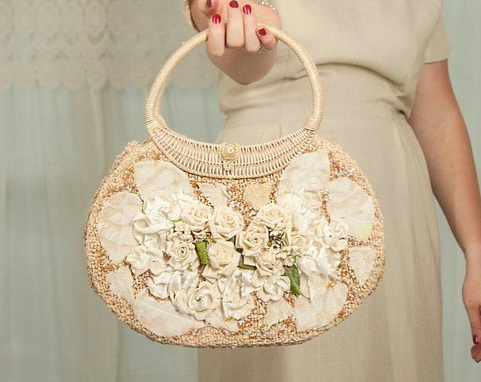 Vintage white basket handbag purse, ecru ivory beige woven wicker paper linen roses floral flowers, 1950s 1960s