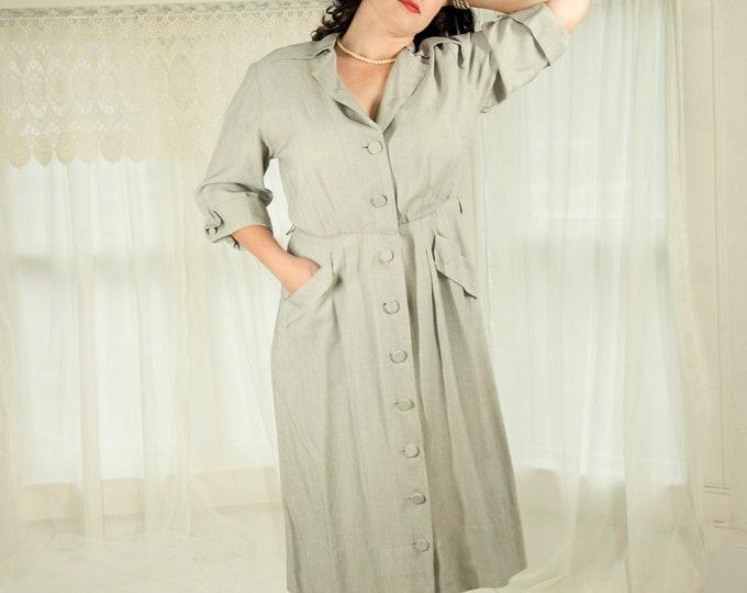 Vintage 1940s gray dress, 3/4 sleeves, collar, gray pin striped midi shift rayon pockets pin-up, XXL