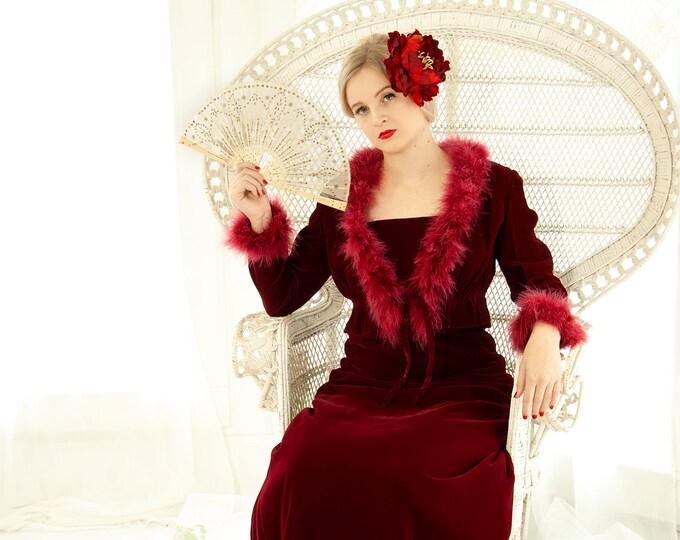 Vintage red velvet maxi dress set, feathers, long sleeve collar cuffs bolero, marabou boa, empire waist, boho formal queen S 1970s