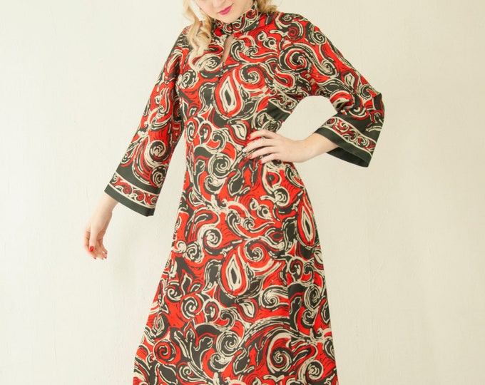 Vintage red psychedelic maxi dress, red black white, long bell sleeves, keyhole A-line abstract 1970s retro disco S