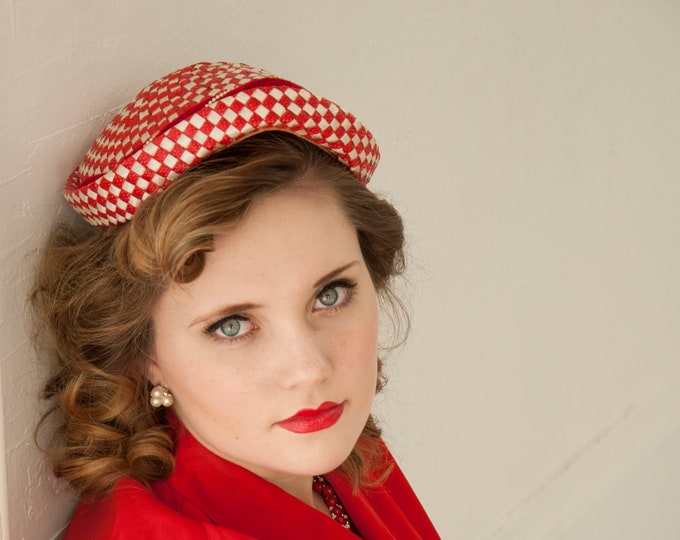 Vintage 1950s red check hat, white woven raffia velvet gingham, formal pin-up woven headpiece pillbox,