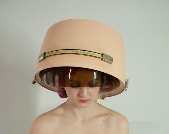 Vintage 1950s pink hair dryer, tabletop electric, case, Hoover portable professional salon type, model 8248, original box