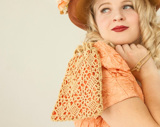 Victorian crocheted lace purse, small vintage ivory antique white vintage peach pink salmon crochet reticule wristlet handbag 1800s formal