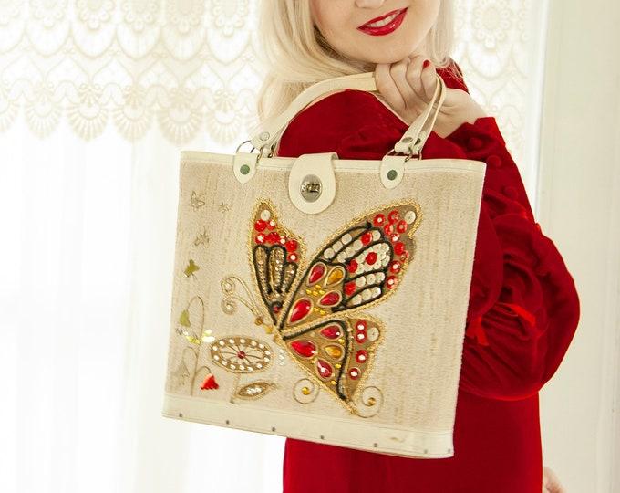Vintage jeweled butterfly purse, red gold embellished, natural white beige, beaded sequins floral 1960s large tote vinyl handbag