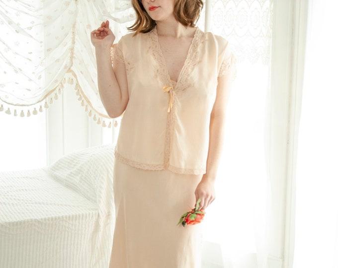 Vintage 1940s pink silk nightie, bed jacket set, peach long dress, lace slip bias-cut peignoir pin-up lingerie nightgown, full M L