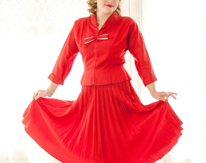 Vintage 1950s red dress set, dolman sleeve suit, white sailor nautical bow, high-waist pleated midi skirt, peplum top jacket, pin-up, L