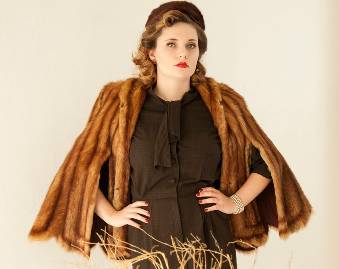 Vintage 1940s striped fur stole, brown stripes muskrat shawl cape shrug jacket coat, winter formal pin-up S M L