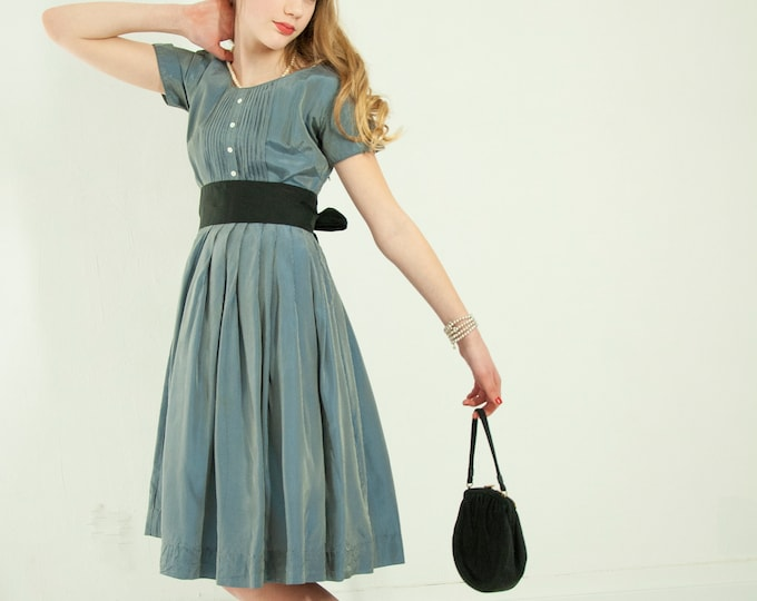 Vintage 1950s gray pinstripe dress, short sleeve  blue black silver striped fit and flare formal knee-length pin-up, XXS XS petite girls