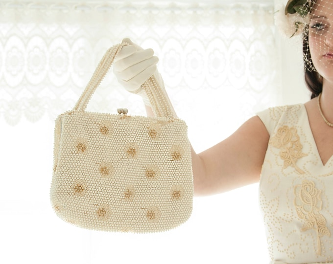 Vintage white beaded purse, gold starburst embroidered handbag beads beading, ivory formal large 1950s 1960s