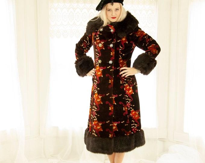Vintage floral velvet princess coat, black faux fur collar cuffs long 1960s mod formal peacoat jacket dark brown burgundy pink red orange, S
