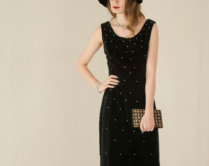 Vintage black starry-night dress, sleeveless velveteen shift midi formal, rhinestones, S M 1950s 1960s